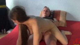 Granddaughter rides grandpa with her hairy pussy hard - Nadine Cays