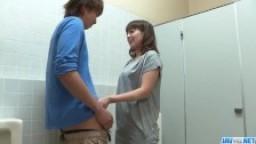 Riho Mikami sucks a stiff dick in a public toilet  - More at 69avs com