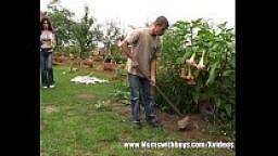 Young Gardener Garden Fuck With Brunette Mature