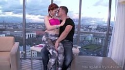 Young Anal Tryouts - Curvy ginger babe teases dude with her round butt