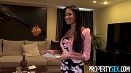 PropertySex - Virgin fucks insane hot French real estate agent with big natural boobs