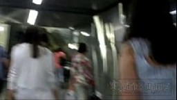 Forced upskirt in the subway