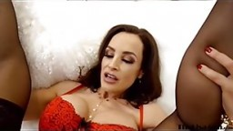 Busty MILF Lisa Ann riding hard for facial in stockings