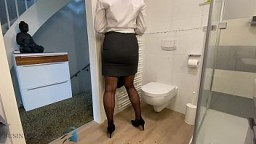 slut in business suit stuffing panty in pussy, business bitch