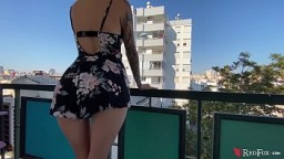 Blonde Public Blowjob Big Dick to Cum on Big Ass in the Balcony