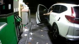 Flashing at the gas station 5 min