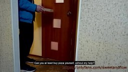 Wife pays for pizza while husband is in the shower 12 min