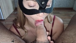 Sexy Girlfriend Passionately Sucks Dick and Cum Swallow 6 min