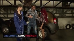 Hot threesome in the garage with Molly Saint Rose and Shirinna 10 min